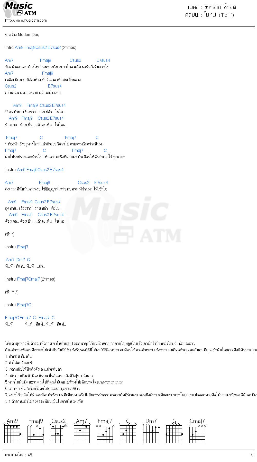 คอร์ดเพลง ขวาร้าย ซ้ายดี - โมทีฟ (Motif) | คอร์ดเพลงใหม่