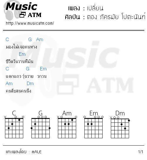 คอร์ดเพลง เปลี่ยน - ตอง ภัครมัย โปตะนันท์ Feat.เปียโน Thesis | คอร์ดเพลงใหม่