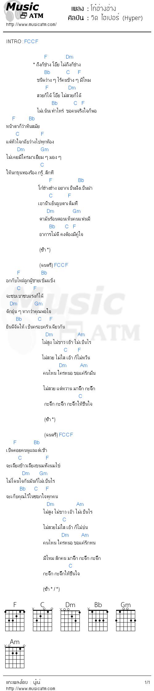 คอร์ดเพลง โก๋ฮ่างฮ่าง - วิด ไฮเปอร์ (Hyper) | คอร์ดเพลงใหม่