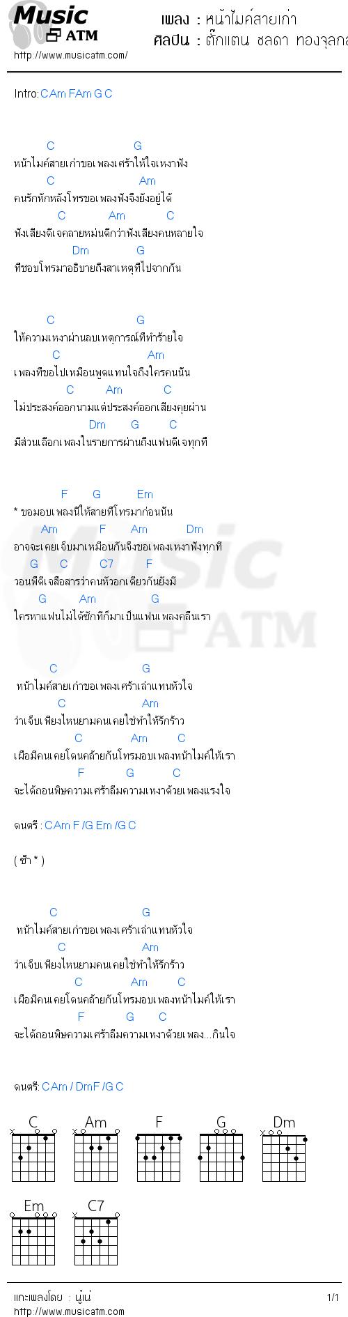 คอร์ดเพลง หน้าไมค์สายเก่า - ตั๊กแตน ชลดา ทองจุลกลาง | คอร์ดเพลงใหม่