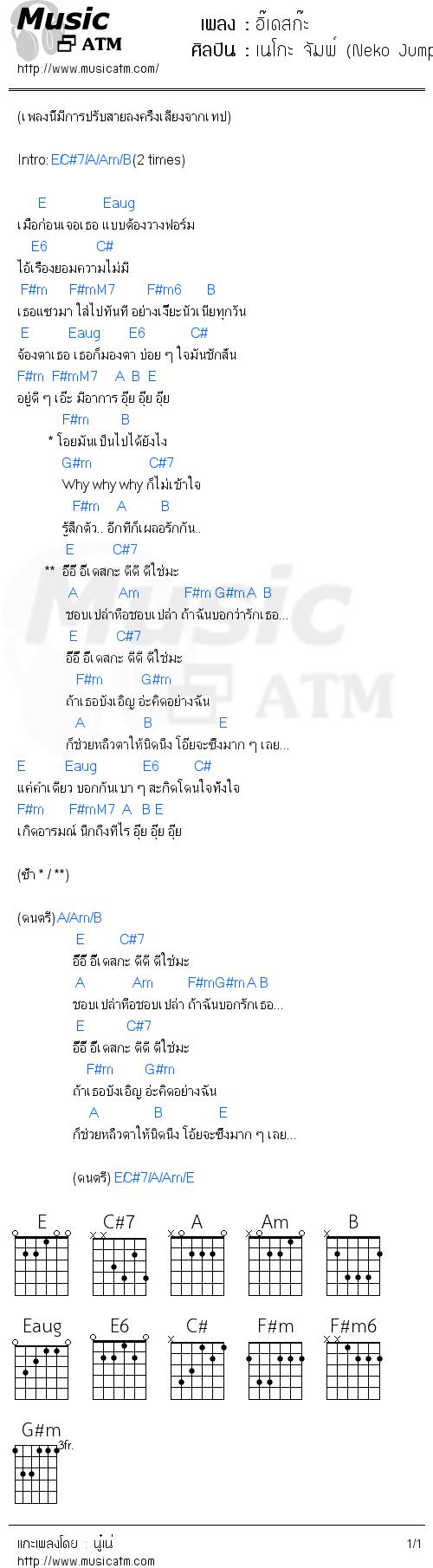 คอร์ดเพลง อิ๊เดสก๊ะ - เนโกะ จัมพ์ (Neko Jump) | คอร์ดเพลงใหม่
