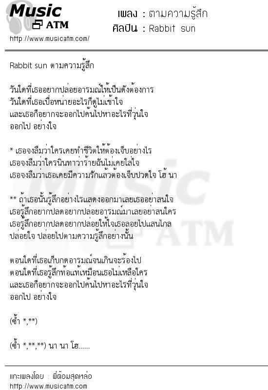 เนื้อเพลง ตามความรู้สึก - Rabbit sun   เพลงไทย