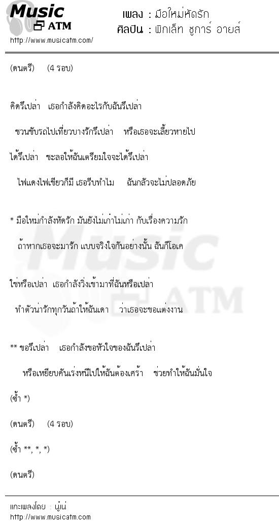 มือใหม่หัดรัก | เพลงไทย