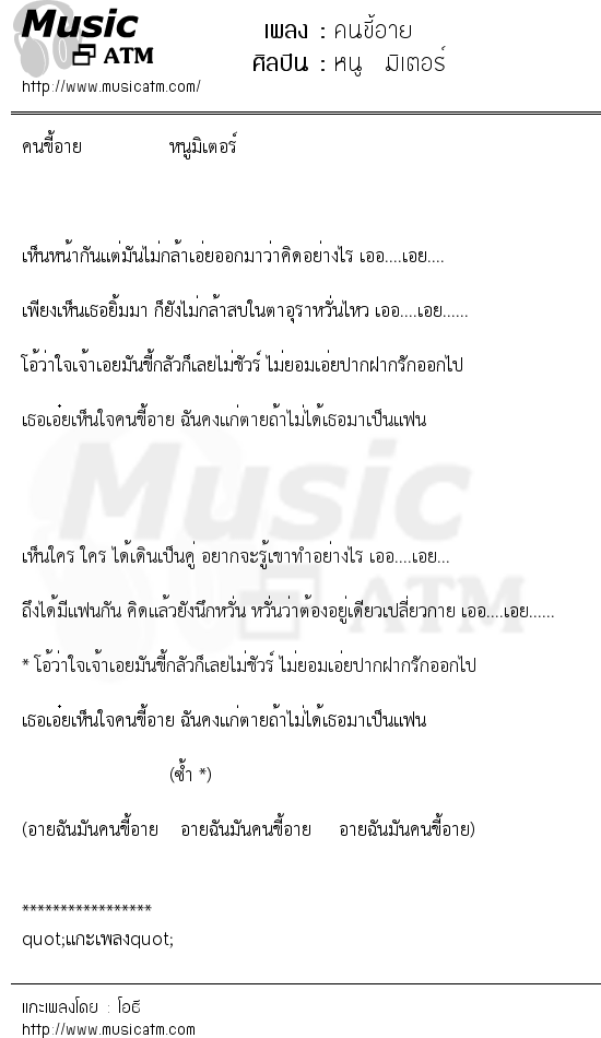 เนื้อเพลง คนขี้อาย - หนู มิเตอร์   เพลงไทย